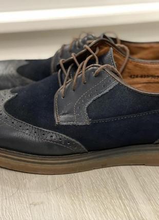Мужские туфли лоферы с перфорацией синие