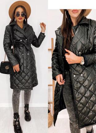 Пальто куртка женское демисезон легкое черное серое длинное стеганное