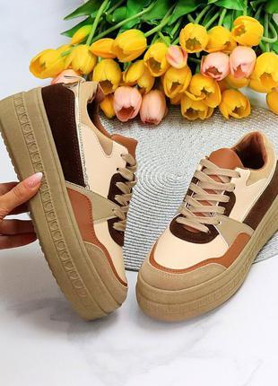 Ультра модные бежевые песочные женские кроссовки кеды криперы на платформе 11555