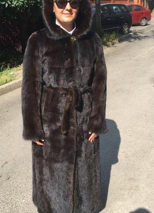 Норковая шуба халат, роскошная, длина в пол