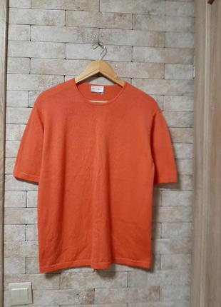 Коралловая футболка свитер  из шерсти