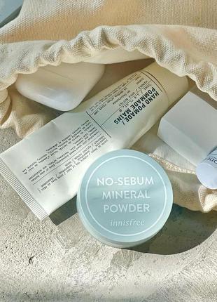 Innisfree no sebum mineral powder  минеральная матирующая прозрачная пудра с легким мятным ароматом, 5г