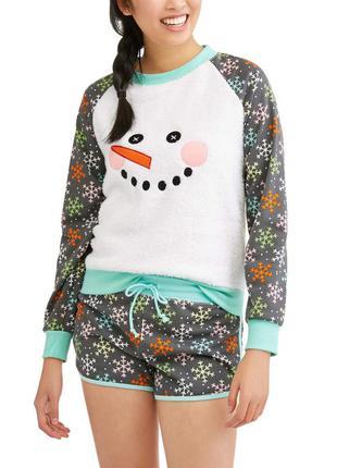 Пижама женская теплая с шортами снеговик новогодняя