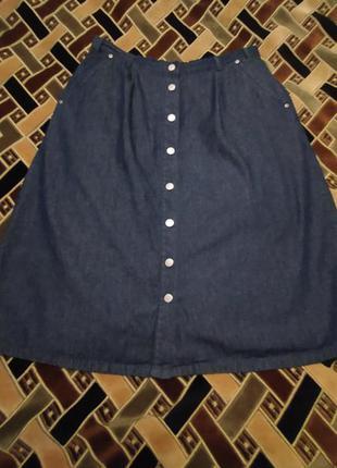 Юбка джинсовая на пуговицах батал ( большого размера).