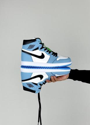 Чоловічі кросівки nike jordan 1 blue white / мужские кроссовки найк джордан синие