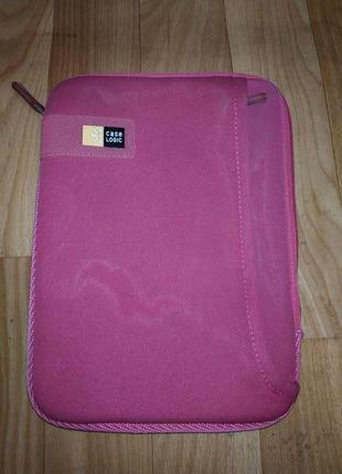 Чехол розовый для планшета, документов на молнии с наружным карманом на молнии logitech