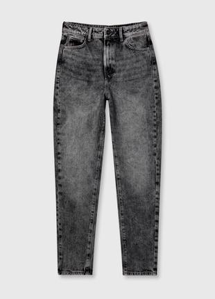 Серые джинсы мом графит ostin мом mom fit штаны чёрные узкие широкие xs s 34 36