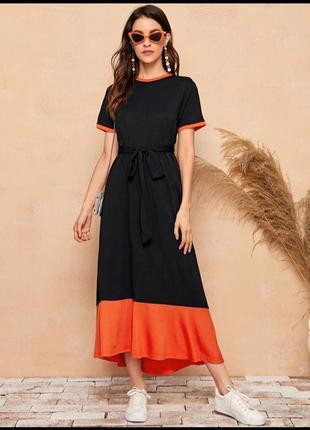 Длинное платье с контрастным низом