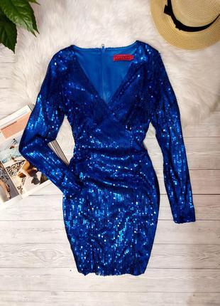 Платье вечернее в паетки нарядное синее платье паетки boohoo сукня вечірня паєтки