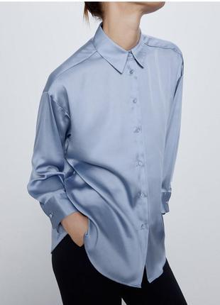Шикарная шелковая рубашка голубая блуза