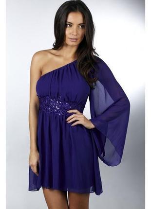 Платье на одно плече синее вечернее платье нарядное сукня вечірня на одне плече