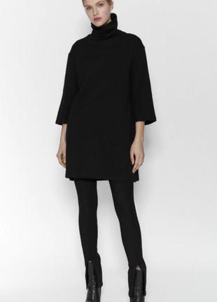 Черное теплое платье с высоким горлом от zara зара