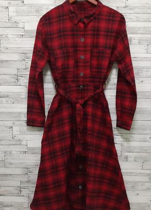 Шикарное красное платье рубашка миди в клетку свободного кроя