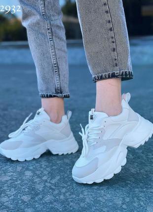 Крутые модные белые женские кроссовки jenn