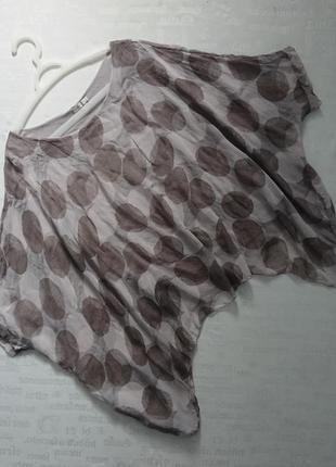 Интересный блузон (италия) oversize/летящая шелковая блуза на подкладке