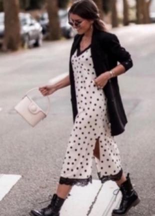 Zara платье в бельевом стиле платье в горох