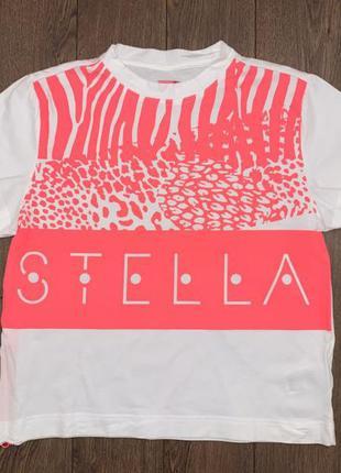 """Яркая эффектная белая с розовым футболка в анималистический принт от """"adidas stellasport"""",s оригинал"""