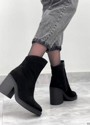 Замшевые ботильоны черные женские ботинки на каблуке натуральная замша