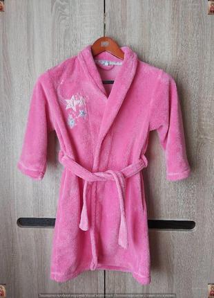 Фирменный primark тёплый мягкий плюшевый халат в сочном розовом цвете на 7-8 лет