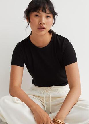 Базовая черная футболка топ из органического хлопка от h&m,p. l
