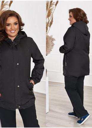 """Куртка-ветровка с капюшоном из качественной плащовки """"канада"""", на подкладе plus size"""