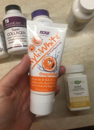 Детская зубная паста на ксилите, ксилитол. апельсин гель для зубов