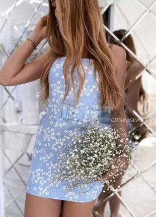 Платье с поясом голубое в цветы лён вискоза zara s m