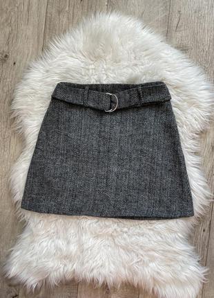 Стильная серая мини юбка с шерстью 1+1=3