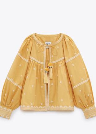 Жакет блузка с вышивкой , вышиванка zara