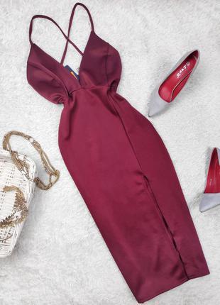 Платье бордо с разрезом