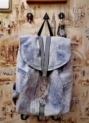 Джинсовый рюкзак, вместительный