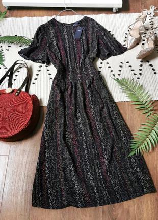 Чорна сукня міді з принтом marks&spencer черное платье миди с узором принтом