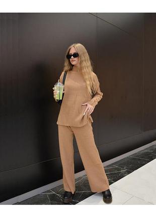 Женский костюм zara коричневый-кофейный oversize (оверсайз) трикотажный в рубчик кофта и штаны в полоску