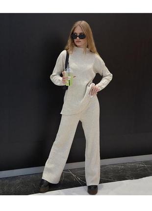 Женский костюм zara бежевый-молочный oversize (оверсайз) трикотажный в рубчик кофта и штаны в полоску