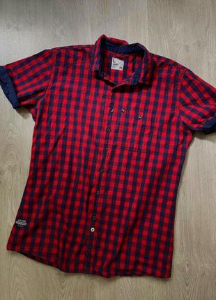 Рубашка с коротким рукавом cropp, клетчатая, в клетку