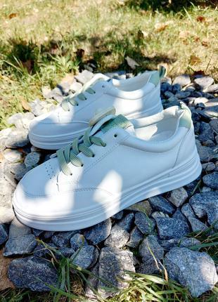 Базовые кеды 🌿  мятный кроссовки на платформе осенние деми