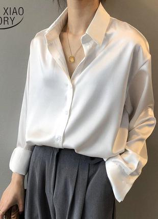 Стильная рубашка однотонная под шелк цвет белый и шампань