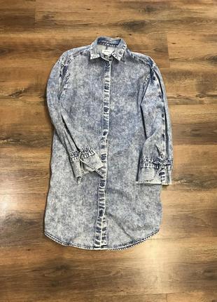 Крутая удлинённая джинсовая,платье джинсовое
