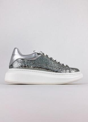 Кроссовки alexander mcqueen silver leather trimmed glitter