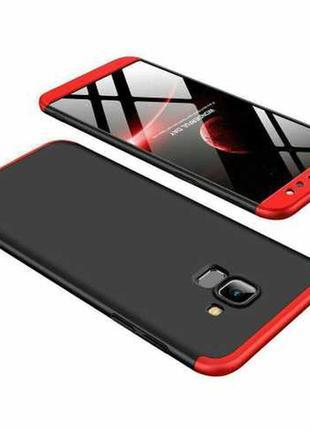 Чехол gkk 360 для samsung j6 2018 / j600 / j600f оригинальный бампер black-red