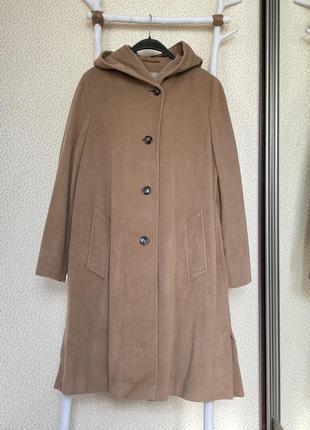 Пальто с капюшоном брендовое бежевое оверсайз ангора шерсть