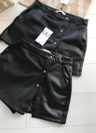Трендовая юбка шорты zara под кожу