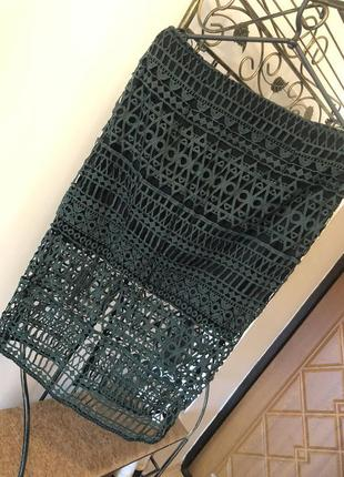 Ажурная юбка миди цвета хаки