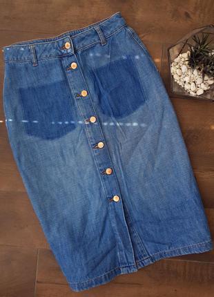 Синяя джинсовая юбка миди
