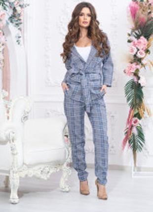 Стильный костюм клетка пиджак и брюки  пояс