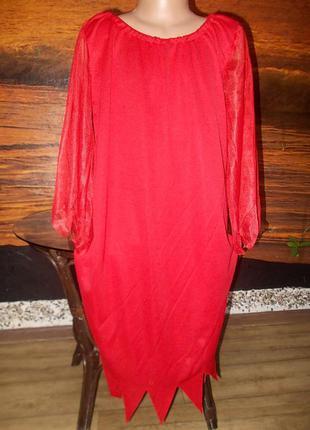 Платье маскарадное на 6-8 лет чертик ведьмочка огонь цена снижена