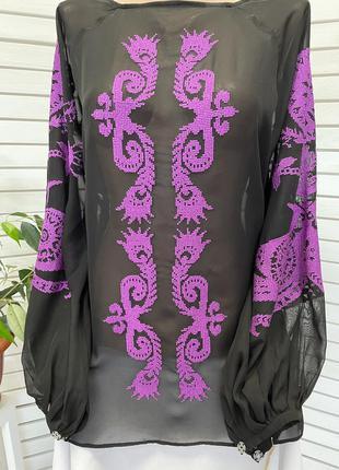 Дизайнерська шифонова блуза з вишивкою пишний рукав блузка с вышивкой вишиванка вышиванка