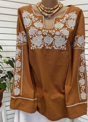 Шикарна бавовна блуза з вишивкою вишиванка бохо вышиванка хлопок блузка с вышивкой