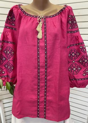 Шикарна лляна блуза з вишивкою вишиванка бохо вышиванка  лен блузка с вышивкой