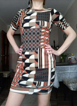 Платье трикотажное пэчворк вязаное